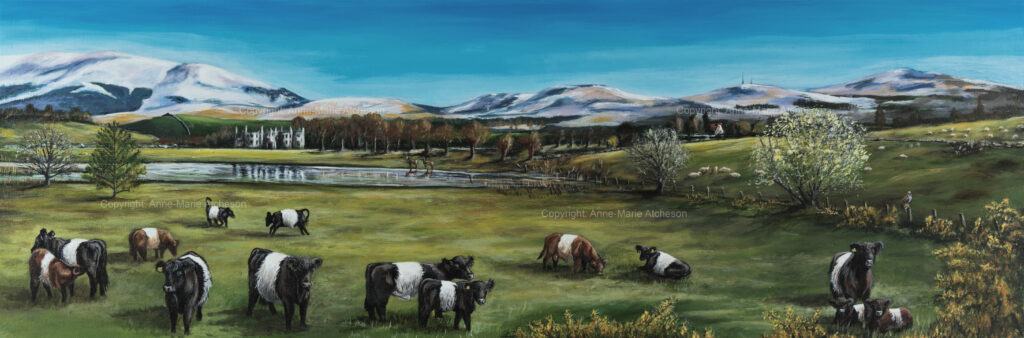 Commission painting of cattle in field