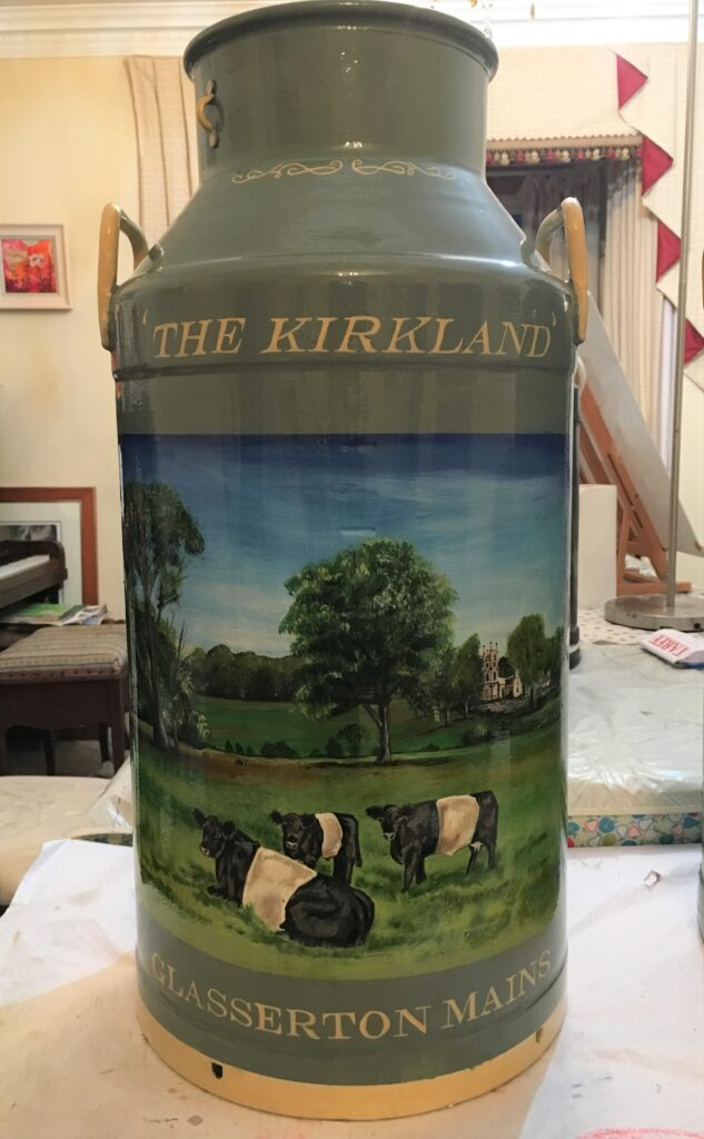 Milk Churn with painting of Farm scene