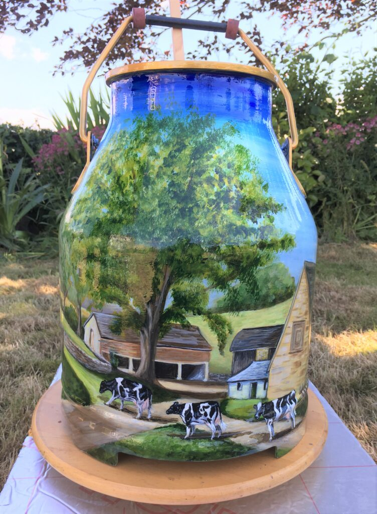 Half Milk Churn with painting of Dairy scene