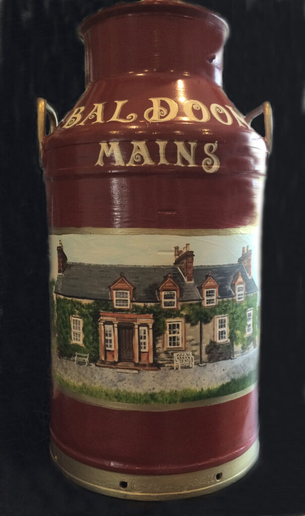 Milk Churn with painting of a house