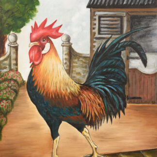 wooden plaque of leghorn cockeral on a wall