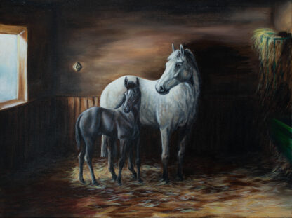 oil painting of grey mare and foal in a stable